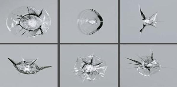 Ukázky rozbití autoskla které firma AutoSklo Partner dokáže opravit pomocí speciální pryskyřice. Není tak nutná úplná výměna skla.